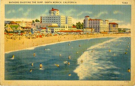 Bathers at Santa Monica Beach